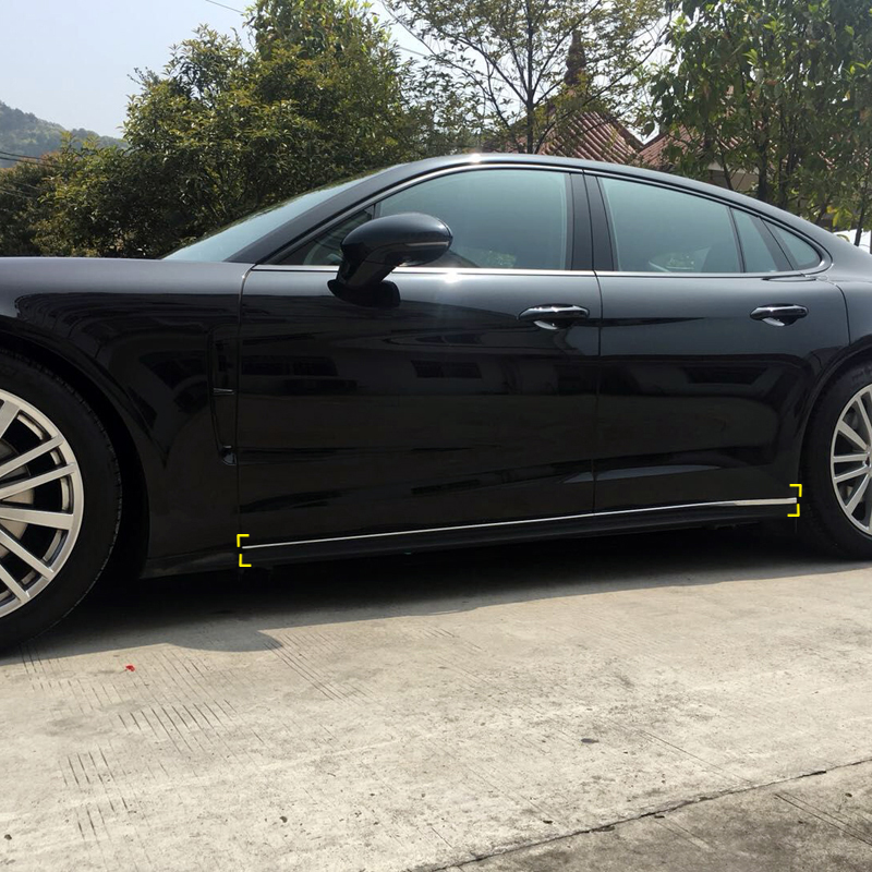 Car Styling Exterior Car Door Body Lower Bottom Mouldings Sill Cover Trim 4 pcs For Porsche Panamera 2017 2018Car Styling Exterior Car Door Body Lower Bottom Mouldings Sill Cover Trim 4 pcs For Porsche Panamera 2017 2018