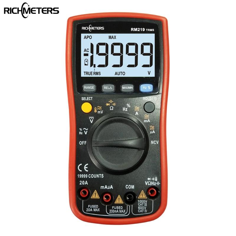 RM219 True-RMS 19999 отсчетов Цифровой мультиметр НТС частота Авто мощность off AC DC Амперметр напряжения Ток Ом