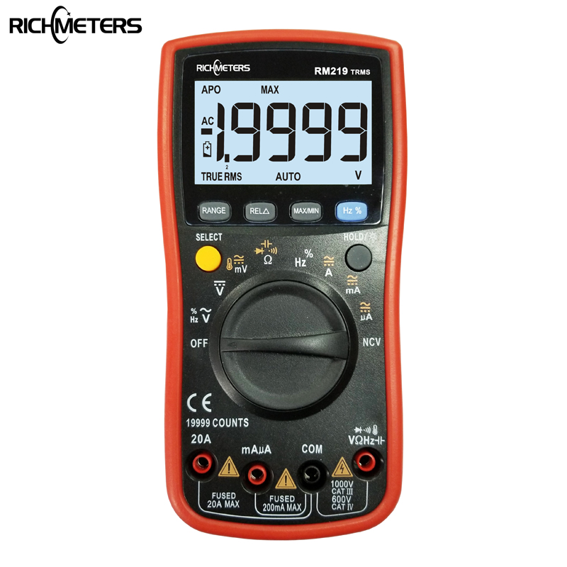RM219 de verdadero valor eficaz (RMS 19999 Cuenta Digital multímetro NCV Frecuencia de alimentación de tensión AC DC amperímetro actual Ohm