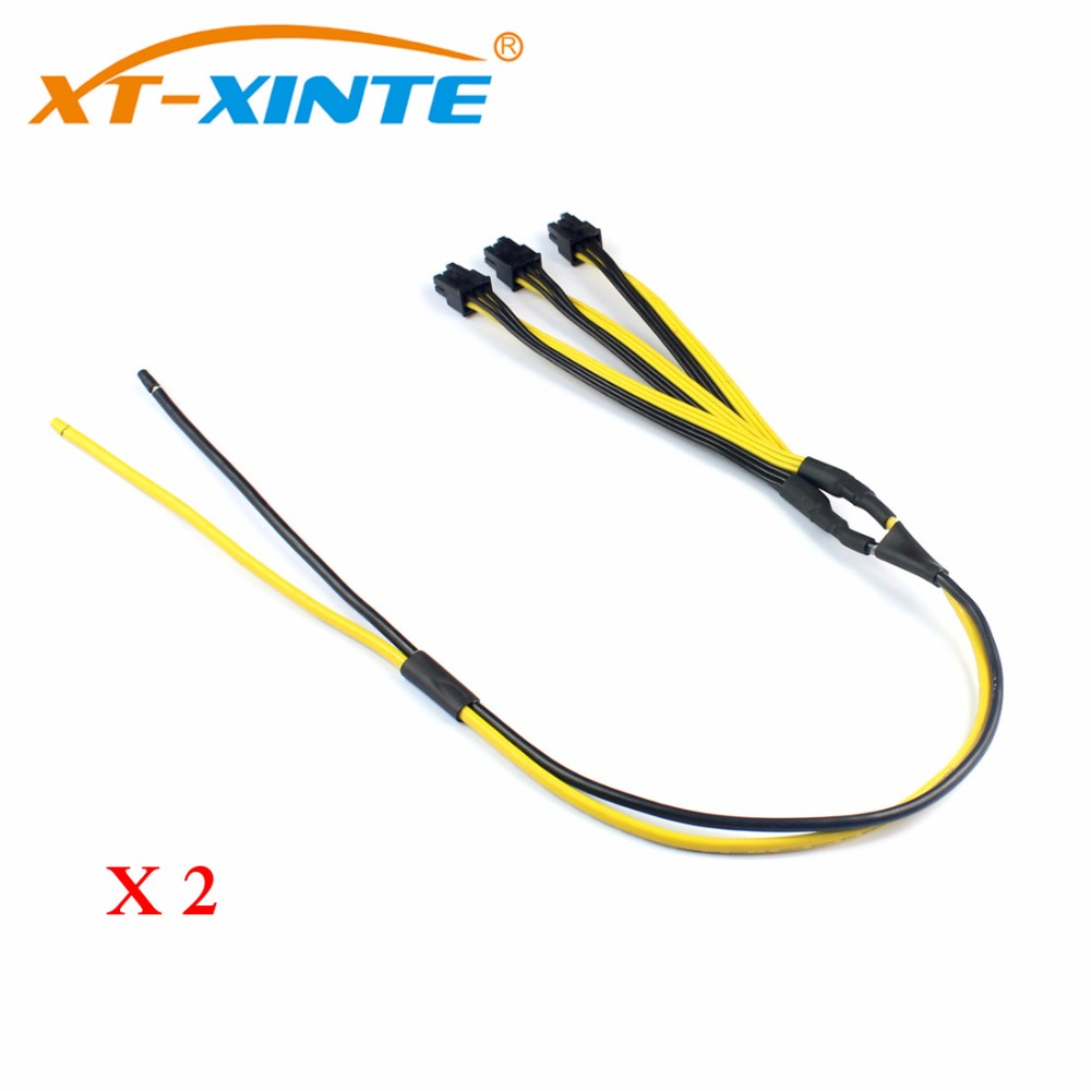 2Pcs S7/S9 to Triple 3X PCI-E PCIe PCI Express 6Pin Graphic Card Splitter Power Cable Cord for BTC miner Machine 12AWG+18AWG s7 to triple 3x pci e pcie pci express 6pin gpu graphics card splitter power cable cord for btc miner machine bitcoin litecoin