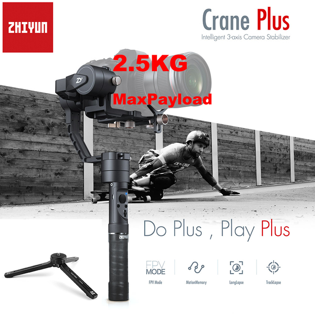 Zhiyun Crane Plus 3-Axis Handheld Gimbal Stabilizer Payload 2.5Kg Long Exposure Time Motion Memory for Mirrorless DSLR Camera