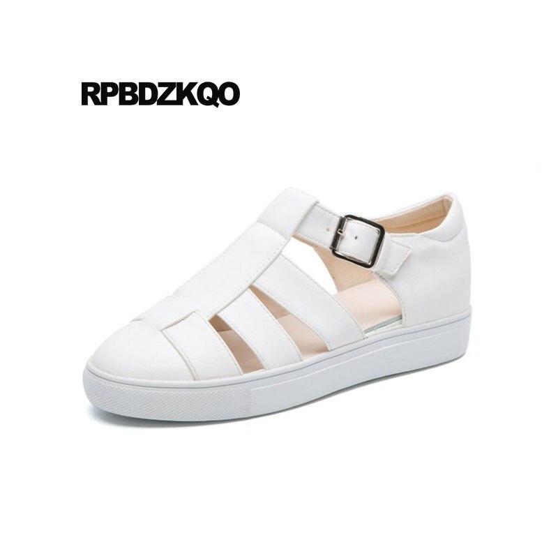 Femmes blanc D'été Respirant Bout 2018 Sneakers Formateurs Blanc Chaussures Rond Sandales Dames Appartements Argent Évider Pas Argent Cher Chine gqFUacSSH