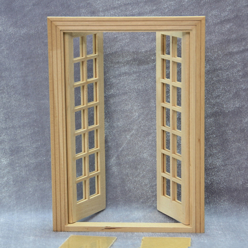 Christmas Gift1/12 Dolls House Miniature Simple Double Door Models DIY Dollhouse Cabin & Christmas Gift1/12 Dolls House Miniature Simple Double Door Models ...