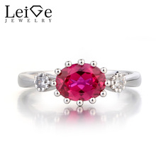 Leige Jewelry Engagement Ring Ruby Ring July Birthstone Oval Cut Red Gemstone Solid 925 Sterling Silver Ring Three Stones Ring