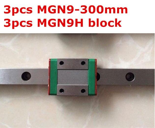 3pcs MGN9 - 300mm linear rail + 3pcs MGN9H carriage 3 3 300 30000