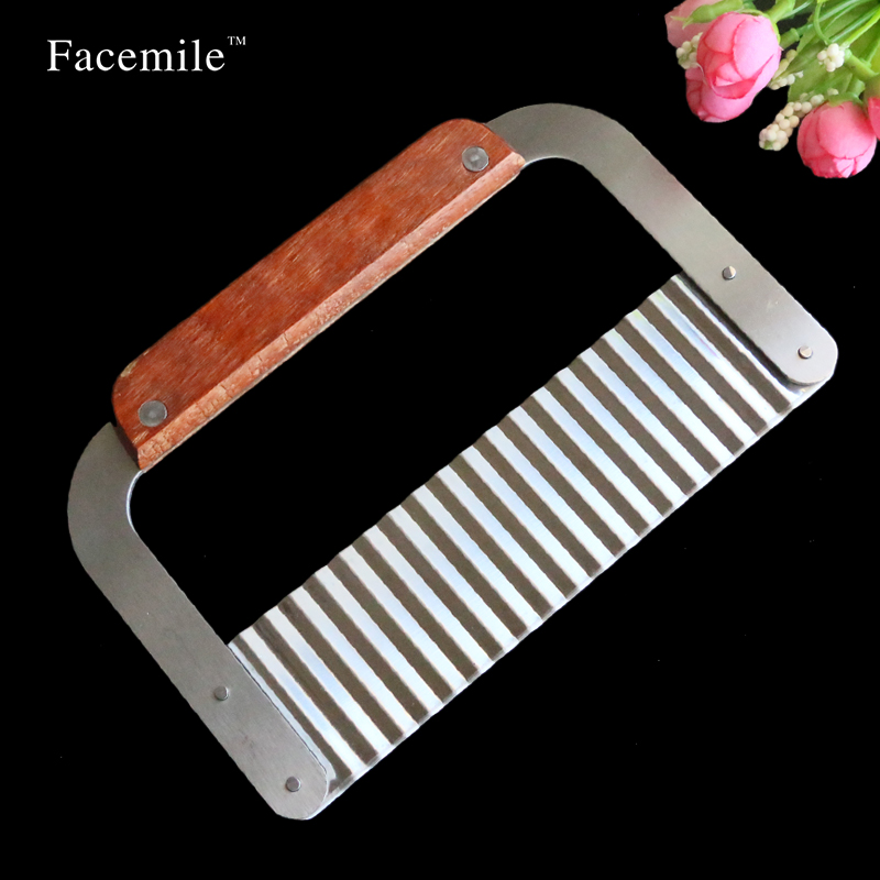 Wooden Handle Corrugated Ripple Wave Knife Gift Tools
