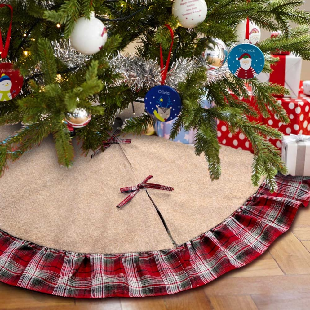aliexpresscom buy ourwarm 48inch plaid christmas tree skirt ruffle edge xmas tree skirt christmas decorations for home new year gifts from reliable