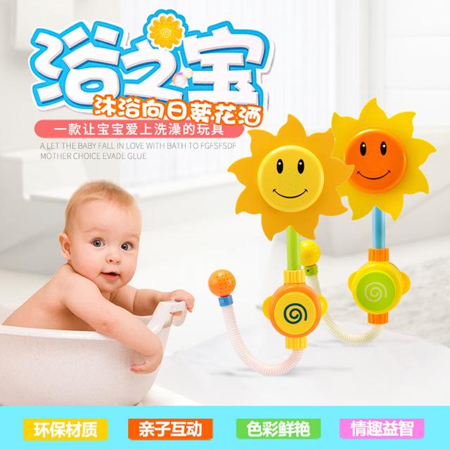 Pokemon ir brinquedos novos Brinquedos Do Banho Do Bebê Girassol Chuveiro Piscina Brinquedo da Água da Praia de Natação para o Banho Do Bebê Brinquedo Das Crianças Das Crianças