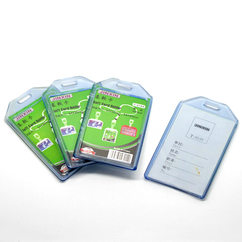 5 Pcs/lot New Blue Vertical Plastic ID Card Badge Holder 10.5x6cm Clear Exhibition ID Name Card Holders Office Supplies
