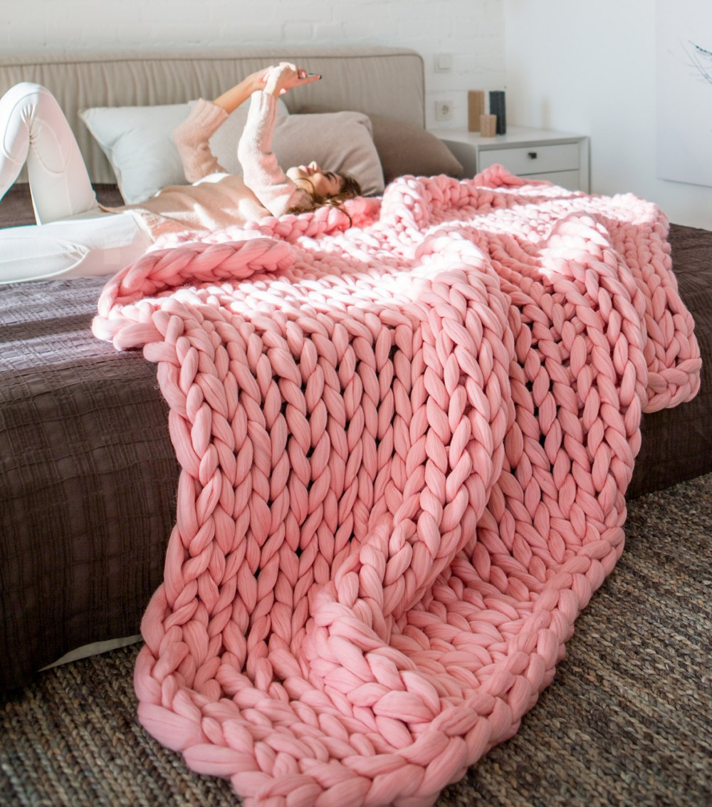 CAMMITEVER 6cm Thick Large Soft Hand Chunky Knitted Blanket Plaids Winter Bed Sofa Plane Thick Yarn Knitting Throw Sofa Cover-in Blankets from Home & Garden