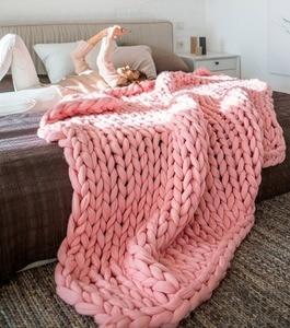 Image 2 - CAMMITEVER Manta de punto de lana gruesa a la moda, 6cm, lana de Merino de hilo grueso, manta de punto gruesa