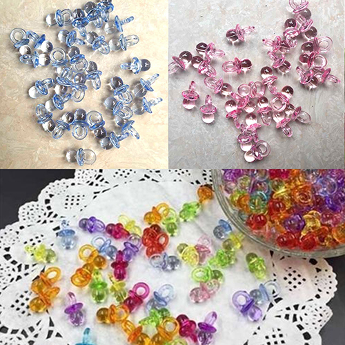 50 Pcs Clear Acrylic Mini Pacifiers Baby Shower Party Favor Girl Boy Game  Decor Store 48