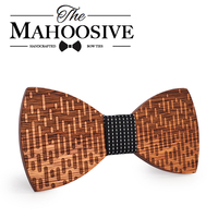 MAHOOSIVE Wood Bow Tie Wedding Decoration High Quality Handmade Wooden Bow Ties With Case Free Ultra