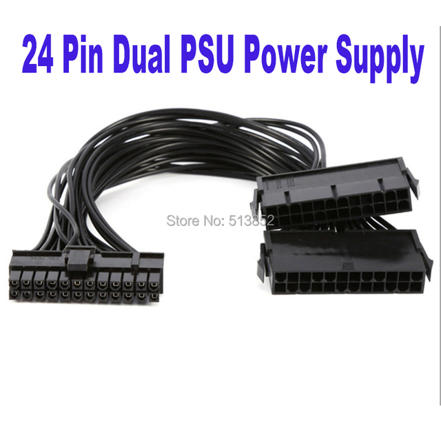 24Pin Power Supply Synchronizer Male to Female ATX Mining 30cm 24 Pin Dual PSU Extension Cable for Computer Adaptor for Mining