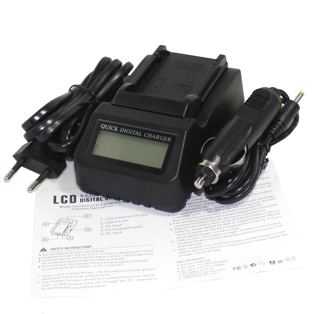 LP-E8 LP E8 Camea Battery LCD Fast Charger For Canon 550D 600D 650D 700D Digital X4 X5 X ...