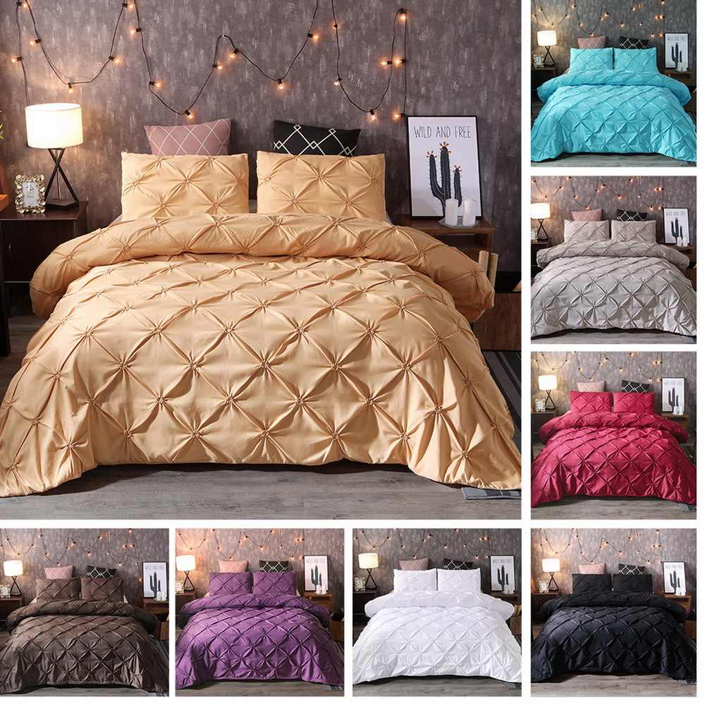 2/3pcs Luxury Pinch Pleat Bedding Set Solid Color Polyester Bedroom Bed Set Linen Duvet Cover Pillowcases Queen King Bedclothes7