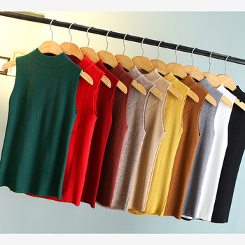 2017 spring new korean women turtleneck sleeveless shirt pullover sweater womens sexy slim top femme tricot pull jumper
