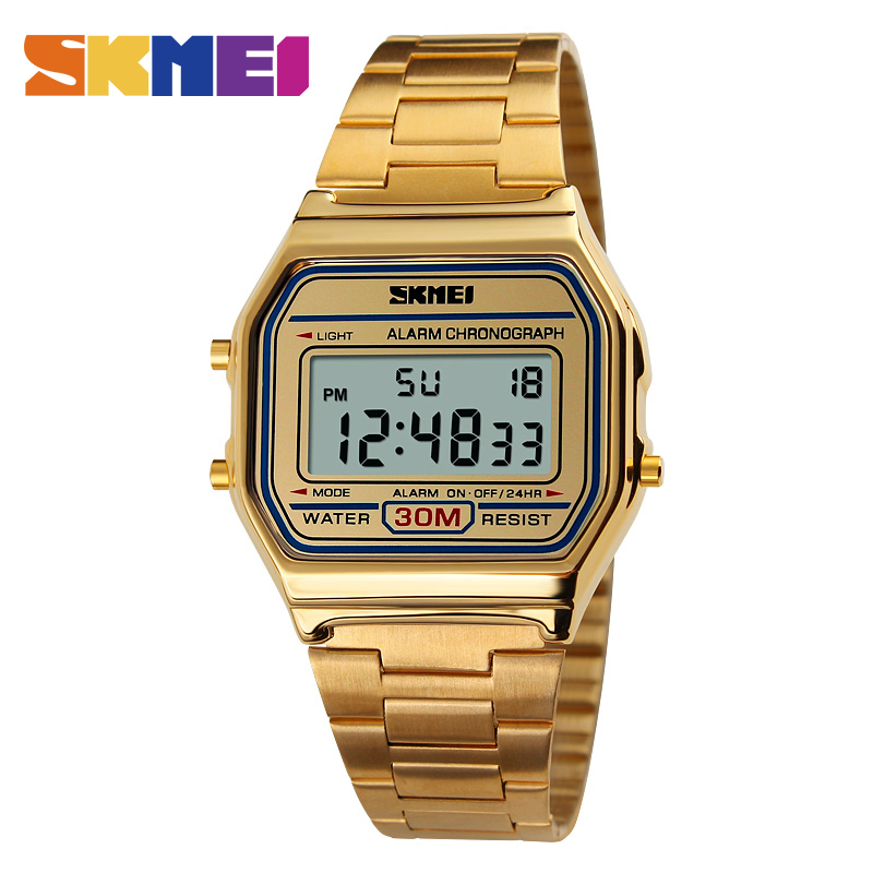 SKMEI 1123 Men LED Digital Watch Fashion Casual Sport Watches Stainless Steel Relojes Masculino Waterproof Wristwatches skmei men sports waterproof watch stainless steel fashion digital wristwatches