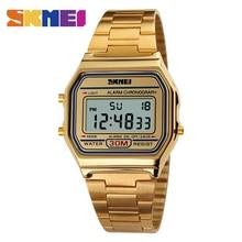 SKMEI 1123 Мужчины СВЕТОДИОДНЫЕ Электронные Часы Моды Случайные Спортивные Часы Из Нержавеющей Стали Relojes Masculino Водонепроницаемый Наручные Часы