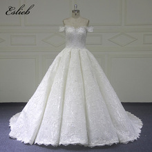 Eslieb Custom made Ball Gown Wedding Dresses Lace penuh Manik Badan Pengantin Gowns Vestido De Novias Wedding Dress 2018