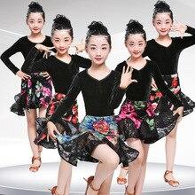 New Latin Dance Dress For Girls Ballroom Dancing Dress Girl Dancewear Kids Costume Ballet Vestido Baile Latino Girls Samba Dress
