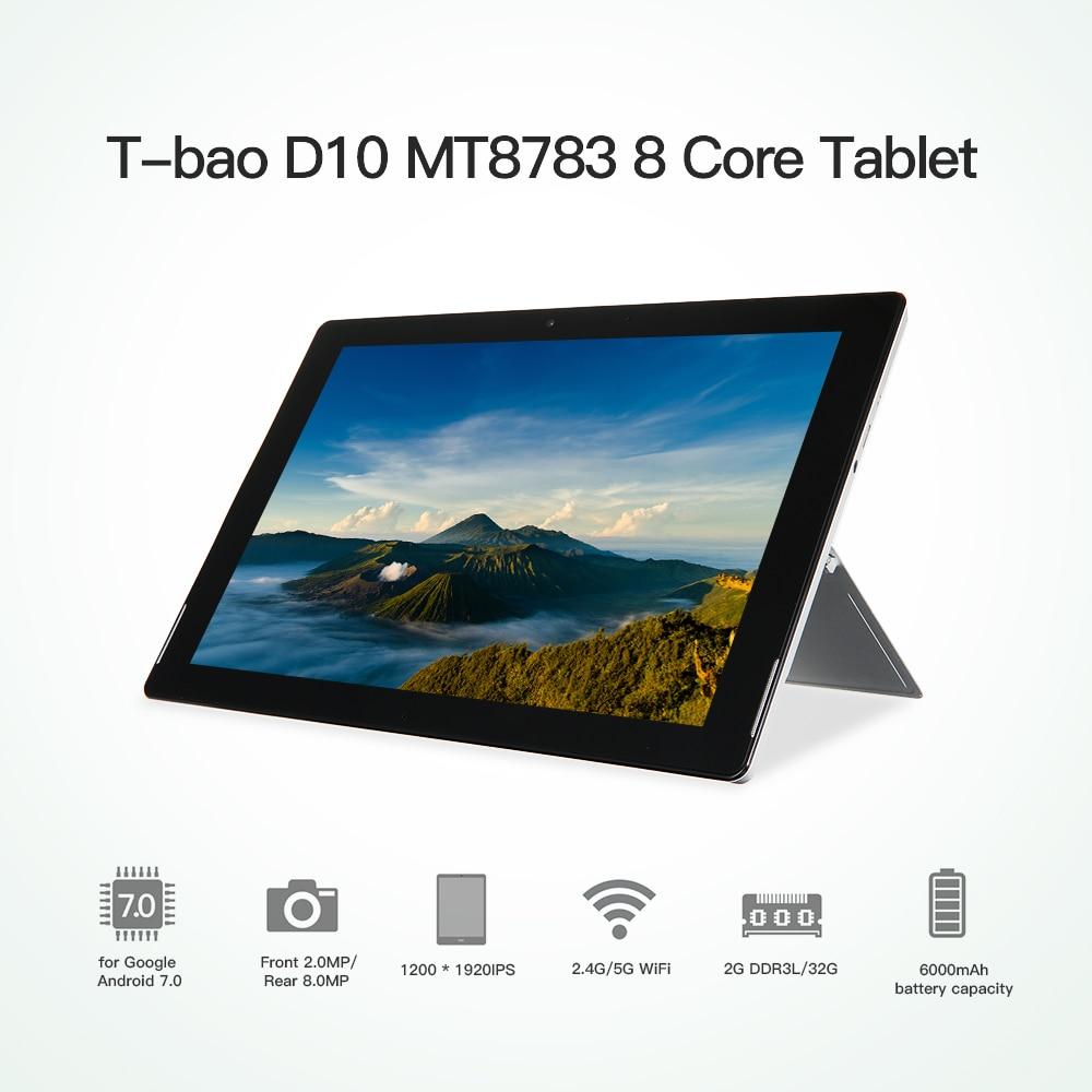 T-Бао D10 mt8783 8 core Планшеты для Android 7.0 2 г DDR3L 32 г flash iPad 10.1- дюймовый G + G 10 Точка емкостный 1200*1920 Планшеты PC