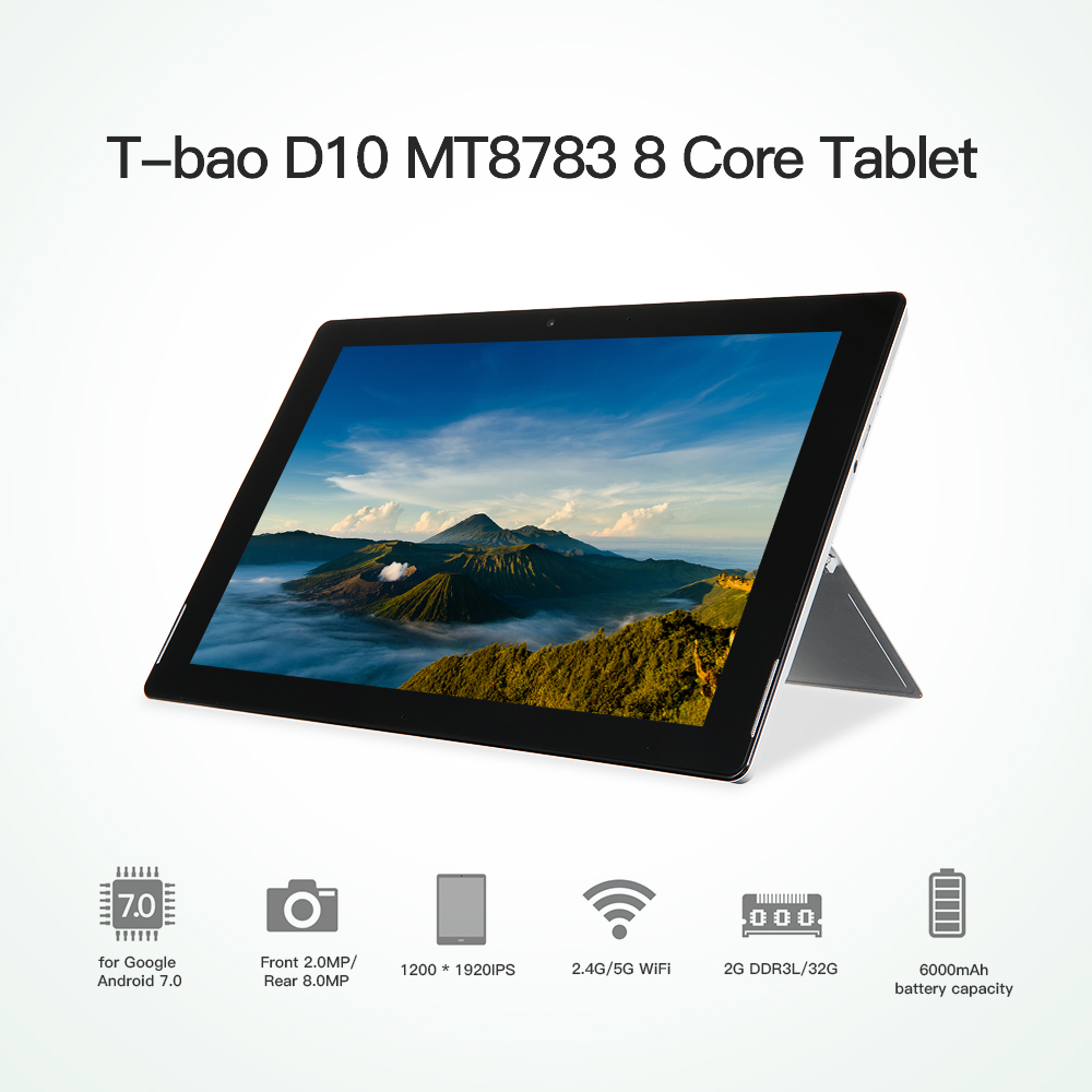 T-bao D10 MT8783 8 Core Tablet For Android 7.0 2G DDR3L 32G Flash iPad 10.1-inch