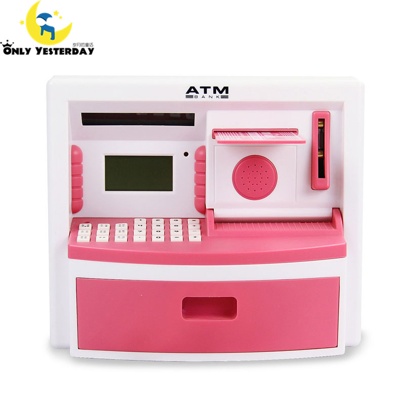 Atm bank toy digital cash coin money box kids mini atm for Home money box