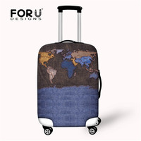 FORUDESIGNS Print Cover On Suitcase for Travels Trolley,Spandex Luggage Cover,Stretch Protective Suitcase Dust Covers 18-28 Inch