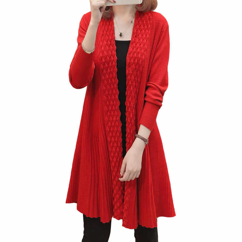 새로운 긴 카디 건 여성 2019 가을 겨울 여성 긴 소매 카디 건 스웨터 니트 카디 건 여성 스웨터 레드 코트 l24