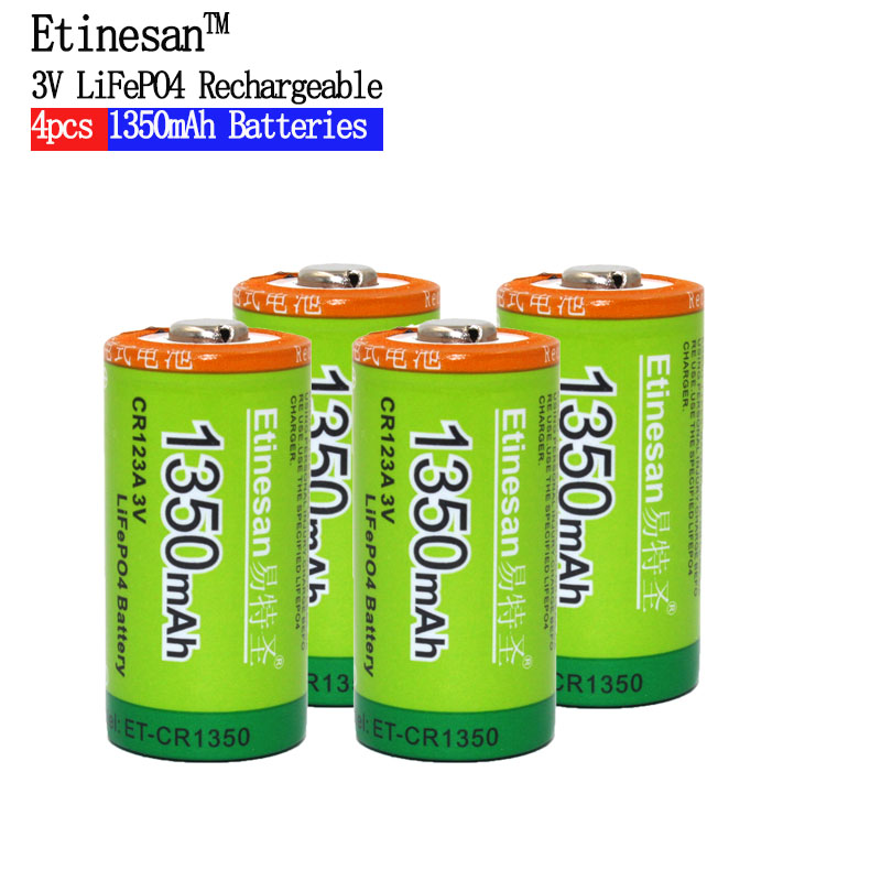 4pcs Cr123a 3v LiFePO4 lithium Batteries Li-Po 16340 3.0V li-ion li-polymer Etinesan 1350mAh Rechargeable battery ultrafire 16340 3 7v 880mah li ion rechargeable battery with protection board 4pcs pack