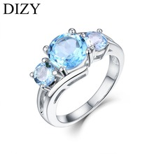 DIZY 3 Stone 2.3CT Round Natural Sky Blue Topaz Ring 925 Sterling Silver Ring for Women Gift  Wedding Ring Engagement Jewelry