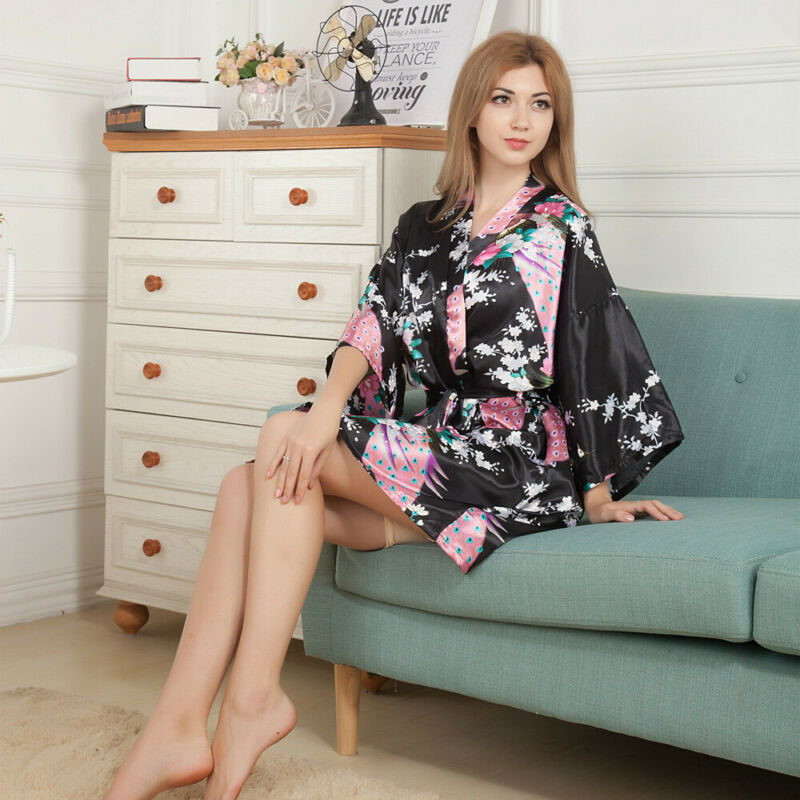 Women's Plain Silk Satin Robes Bridal Wedding Bridesmaid Bride Gown Kimono Robe   Nightgowns     Sleepshirts