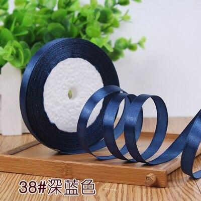 10 мм, 25 ярдов, односторонняя шелковая сатиновая лента, дешевая декоративная подарочная упаковка, Свадебные Рождественские ремесла, белые, розовые, красные, черные ленты - Цвет: Deep Blue