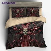 AHSNME Horror Worm Maggot Skull Bedding set Luxury United States Australia Europe Size Cover Set super soft 3D Printed bed S