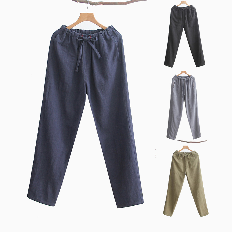 Cotton Linen Long Pants Male Chinese Kung Fu Trousers Men's Full Length Casual  Straight Black Tai Chi  Clothing Elastic Waist