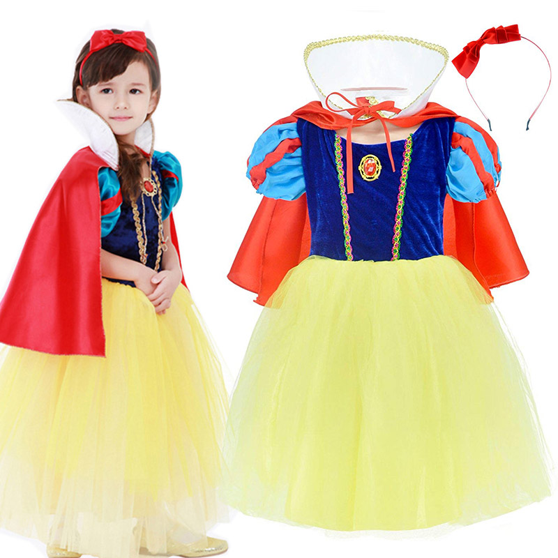 Fairy Tale Princess Snow White Tutu Dress for Girls Birthday Party Kids Fancy Cosplay Clothes Tulle Summer Robe