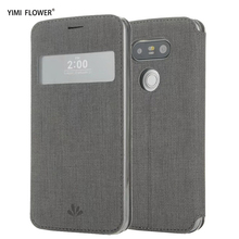 for LG G5 case Flip PU leather view window soft silicon back cover for LG G6 cases Wake Up Sleep Protector