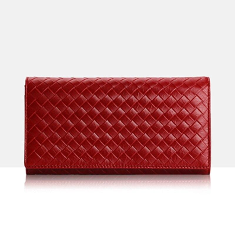 Luxury Genuine Leather Women Wallet Female Purse Fashion Card Holder Clutch Phone Holders Money Bag Weave clutch
