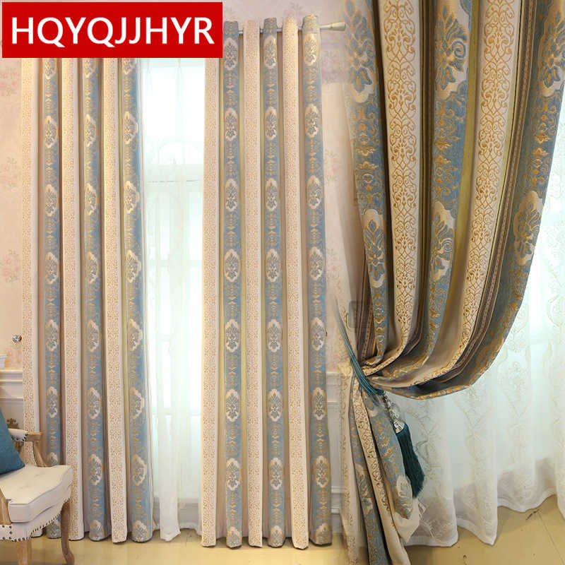 European luxury jacquard Blackout curtains for Bedroom windows High quality  custom finished curtains for Living Room Kitchen