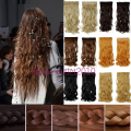 Fashions women Long 24inch 60cm 5 Clip in On Curly Hair Extensions Synthetic false Hairpiece blonde secret hair pad pieces