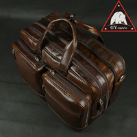 ANAPH Full Grain Leather Men S Briefcases Double Office Bags For Men 15 Inch Laptop Bag