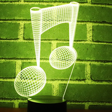 3D LED Night Light Music Note with 7 Colors Light for Home Decoration Lamp Amazing Visualization Optical Illusion Awesome