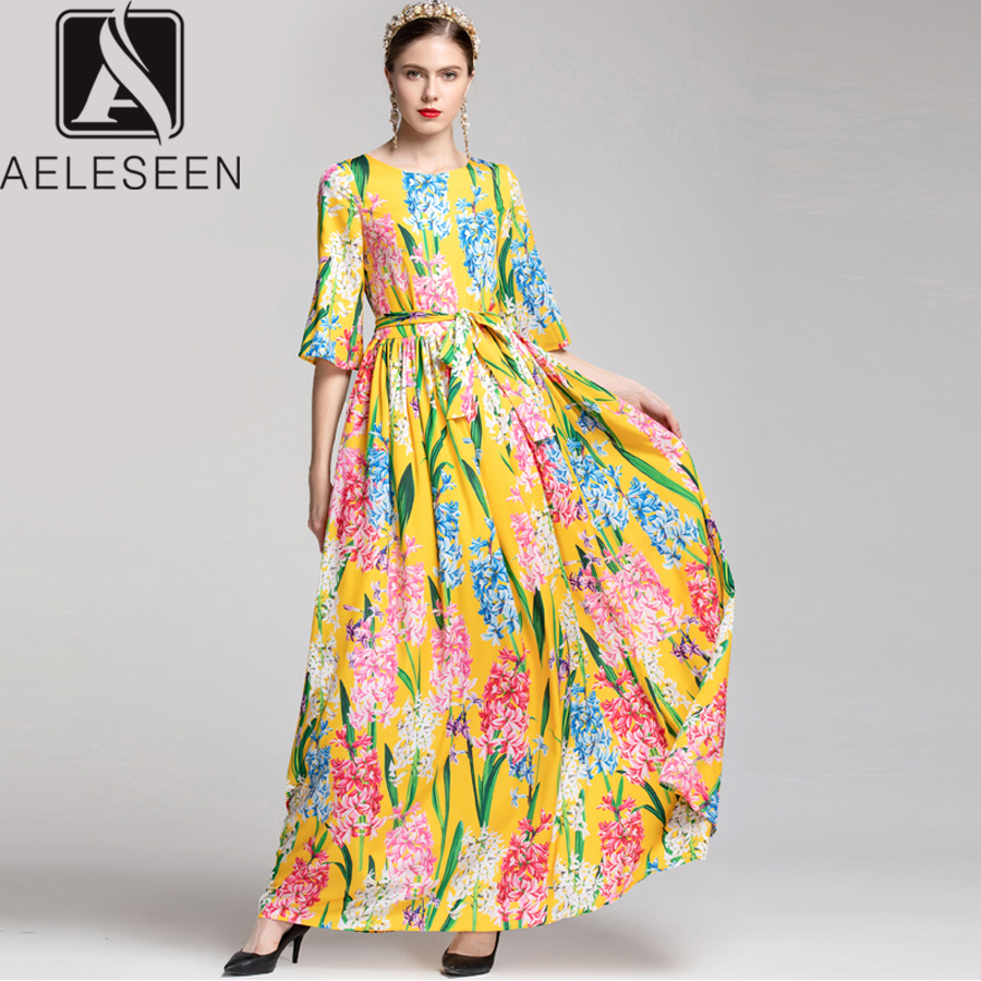 AELESEEN Runway Fashion Dresses 2019 Women s Flare Sleeve Flower Sashes Slim Bohemian Printed Long Dress