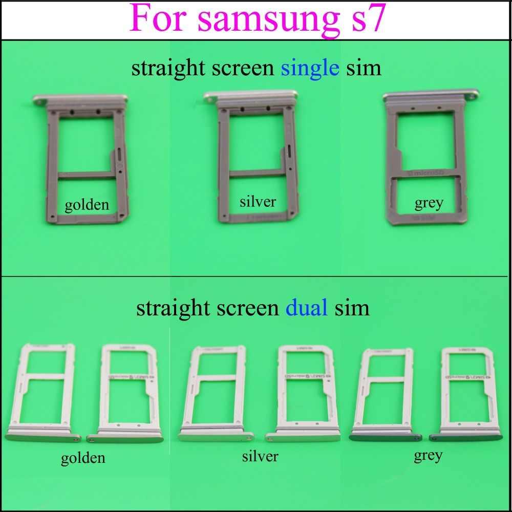YuXi gris foncé/doré/argenté plateau de carte SIM support pour samsung Galaxy S7 edge G935 G935F G935A simple/double haute qualité