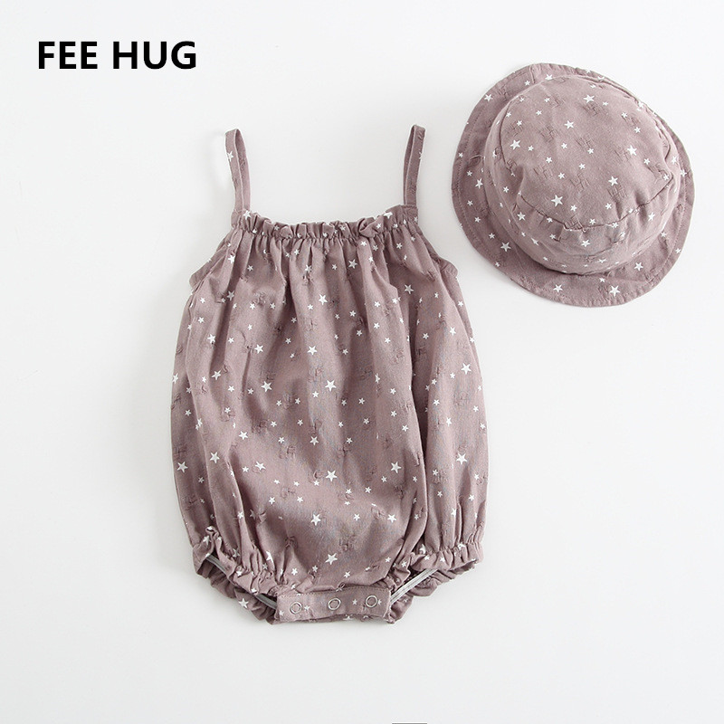 c4fc22c721d0 FEE HUG Newborn Cotton Rompers Baby Girls Summer Cute Star Strapless  Jumpsuits With Hats Korean Boys Clothes For Toddlers