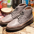 Mens Round Toe Retro Leather Like Lace Up Ankle Boots Casual Winter Warm Shoes