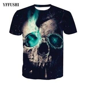 Мужская/Женская 3d футболка YFFUSHI, черная футболка в стиле хип-хоп с принтом в виде черепа и душа, большие размеры 5XL