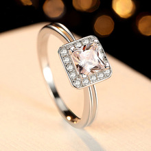 Shiny CZ Stone Romantic Square Cut Ring Engagement Solid 925 Sterling Silver Jewelry Surprise Gift Proposal Ring for Girlfriend цены онлайн