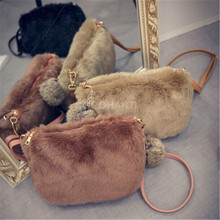 ROCOHANTI Winter 2016 New Faux Fur Furry Crossbody Shoulder Bag Handbag Wristlet Clutch Purse